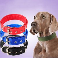 Wholesale Pet Lines - Dog Collars Soft Leather Lining With Polypropylene Foam Dog Leash Double Nylon Collar Pet Supplies Drop Shipping 5 Sizes