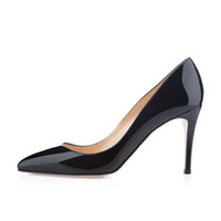 Wholesale French Style Wedding Dresses - Karmran Womens Ladies Handmade Fashion Brand Bigalle 85mm French Style Simple Office Party Pumps Shoes Black