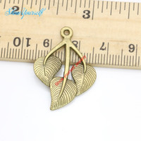 Wholesale Leaf Necklace Bronze - 10pcs Antique Bronze Plated Leaf Charms Pendants for Necklace Jewelry Making DIY Handmade Craft 31x22mm