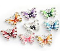 Wholesale Slide Enamel - Enamel Butterfly Pendulum Pendent Charms for Jewelry Making Necklace 5pcs 21.5mm