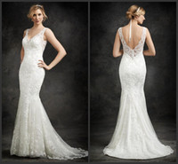 Wholesale Ella Wedding - 2016 Slip Style Wedding Gowns V Neckline Sweep Train KR t Embroidered Venice Lace Mermaid Ella Rosa Bridal Dresses Covered Button