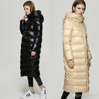 Wholesale Ladies Long Winter Jackets - 2017 New Arrival Wide Waisted Fit Women Long Down Coat White Duck Down Warm Winter Jackets For Ladies Clothing Hooded Coat