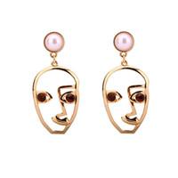 Wholesale Earrings White Metal - Novelty Face Charm Earrings Creative Geometric Stud Earrings Trendy Gold Color Metal Ear Jewelry For Women Party
