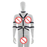 Wholesale Leather Strap Bondage Harness - 2017 Men black fetish sex bondage restraint Adults Games Faux top quality Leather Harness Male Slave Strap Belt Sex Products A885