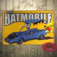 Wholesale graphic vinyl - The BatMan Batmobile Retro metal poster TIN SIGN DC comics superhero wall decor 160909#