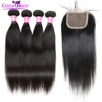 Wholesale Lace Closure Prices - wholesale price peruvian virgin hair straight human hair wefts extensions 4 bundles with 1 piece 4x4 straight lace closure