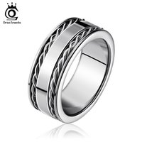 Wholesale 316l Engagement Ring - 8mm Width Punk 316L Stainless Steel Ring High Polished 2 Lines Twisted Bands Decorated Men Women Finger Ring GTR04