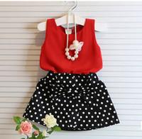ingrosso puntino rosso del vestito del bambino-Neonate che coprono gli insiemi Chiffon rosso di estate Vest + arco polka dot Gonna Outfit Abbigliamento per bambini Abbigliamento per bambini