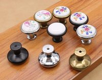 Wholesale Vintage Kitchen Pulls - New Arrive Vintage Ceramic Alloy Door Handles White Bronze DIY Home Kitchen Shoe Cabinet Cupboard Wardrobe Knobs Drawer Closet Locker Pull