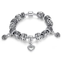 Wholesale hanging glass beads - Hot selling Fine Tibetan antique silver Beads Bracelet heart-shaped hanging jewelry Pandora Charms Glass Beads DIY Beaded Strands Bracelet
