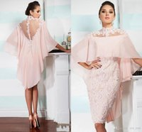 Wholesale High Neck Wedding Lace Cape - Sexy Mother off bride dresses 2016 High Neck Pink Chiffon Lace Applique Beaded With Cape Custom Sheer Back Wedding Plus Size Mothers Dress
