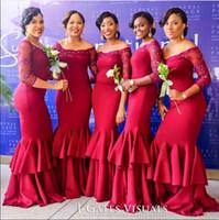 Wholesale beautiful sexy wedding dresses resale online - 2016 Beautiful Sexy Mermaid Wedding Girl Dresses Sheer Short Sleeves Burgundy Cheap Bridesmaid Dresses Under
