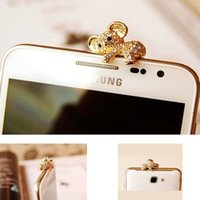 Gros-3.5mm strass cristal Ours Portable Charms Ecouteur Audio Casque Anti Jack Ours Dust Plug-Phone Baby Bear Dust plug