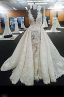 Wholesale tulle over beads - 2017 Real Image Wedding Dress With Over-Skirt Lace Applique Mermaid Long Wedding Gowns Stunning Lace Birdal Wedding Dresses