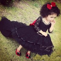 Wholesale Glamorous Days - 2017 Beautiful High Low black 3 4 Long Sleeves Ball Gowns With Crystals Glamorous Lace Tulle Pageant Dress For Little Girls Party Dresses