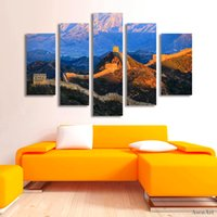 Wholesale chinese landscape canvas oil paintings for sale - 5 Panel Famous Chinese Landscape Canvas Painting Print Great Wall Painting for Living Room Wall Art Home Decoration Unframed