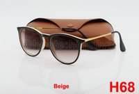 Wholesale New Style Glasses Frames - 1pcs New Style Fashion Sunglasses For Mens Womens Erika Eyewear Designer Brand Sun Glasses Black Beige Gradient 52mm Lenses With Brown Case