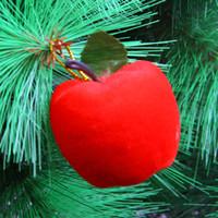 adorno de manzana roja al por mayor-Adornos de boda del partido de Navidad adornos de Navidad de Apple árbol de Navidad 6pcs Adornos de oro rojo decoración (rojo) más barato! cy