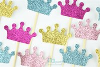 Wholesale Crown Cupcake - Wholesale-crown cupcake toppers, glitter crowns, princess party decorations, prince birthday, pink and gold, custom colors, baby shower