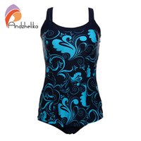 Wholesale Print Vintage Swimming - Wholesale- Andzhelika One Pieces Swimsuit 2017 New Plus Size Swimwear Print Bodysuit Vintage Retro Bathing Suits Swimming Suit DY7889
