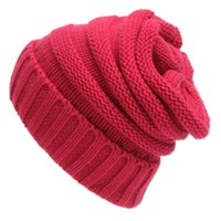 Wholesale Womens Beige Beanie - 2017 New Fashion Trendy Warm Chunky Soft Stretch Cable Knit Slouchy Beanie Skully women men beanie womens knit hats slouchy cap mens beanies
