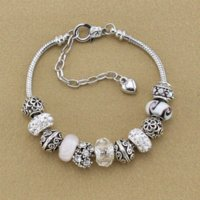 Wholesale High Quality Silver Charm Beads - High Quality Fashion Silver Plated European beads bracelets White Crystal Glass Beads Charm Bracelets & Bangles for Women B15145