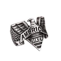 Wholesale mens stainless steel eagle ring resale online - United States American Biker Eagle Mens Vintage US Ring Size