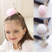 Wholesale Cartoon Ribbon Hair Clips - 12Pcs Lot Lovely Cartoon Swan Temperament Baby Hairpins Hair Clips Princess Barrette Kids Headwear Hair Accessories Beautiful HuiLin B45