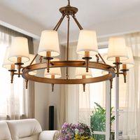 sala de estar de lámparas de campo al por mayor-Lámpara colgante American Country Living Room Colgante de luz Araña de hierro simple Comedor Dormitorio Sala de estudio