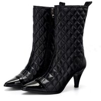 Wholesale Warm Sexy Winter Boots - 2016 Winter new arrival simple elegance luxurious famous brand sexy anti-skid warm nightclub pointed leather women's boots
