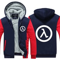 Wholesale Life Size Video - Mens Game Hoodie Half Life FPS video game Jacket Thicken Fleece Hoodie Winter Zipper Coat US EU Plus Size