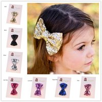 Wholesale Gold Hair Bows - Wholesale 45pcs Bling Hair Accessories Girls Gold Clips Casual Hair Clip Baby Girl Hair Bows Sequin Bows Valentine Bows