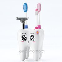 Wholesale Holder Toothbrush Stand - Cartoon 4 Hole Toothbrush Holder Stand Brush Rack Tooth Brush Shelf Holder