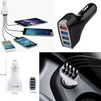 Wholesale Qc Cars - Top Qualtiy QC 3.0 4USB 7A Adaptive Fast Charging Home Travel Car Charger Plug cable usb cable For Samsung Galaxy