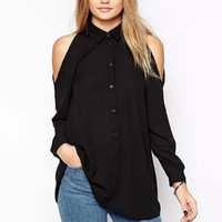 Wholesale Black Button Down Shirt Womens - 2016 Autumn Womens Off shoulder Long Shirts Sexy Chiffon Tops Turn Down Collar Blouse Femininas Long Sleeve Casual Women Clothes Plus Size