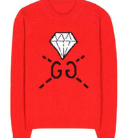 Wholesale Sleeve Diamond Sweater - Free Shipping 2016 Autumn Red diamond Letter G Knitted Long Sleeves Women's Sweaters Celebrity Pullovers 102401