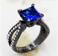Wholesale Women S Wedding Rings - Wholesale - Size5 6 7 8 9 10 Vintage Lovers Jewelry 10KT Black Gold Filled sapphire Gem women lady&039;s Wedding Engagement Ring for love gi