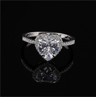 Wholesale Diamonds 1ct - Fashion Heart 1ct Zircon Simulated Diamond Jewelry Engagement Wedding Rings For Women 925 Sterling Silver Luxury Bijoux accessories