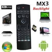 Portable Portable Pas Cher-MX3 Backlight Mini clavier sans fil avec IR Learning 2.4G Télécommande sans fil Fly Air Mouse LED rétroéclairé pour ordinateur portable Android TV Box