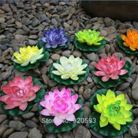 fleurs de lotus en soie artificielle achat en gros de-NOUVEAU 10 cm EVA vraie touche fleurs fleurs artificielles en soie fleur lotus étang décorer la décoration de la maison