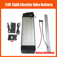 Wholesale 24v lithium battery charger resale online - Bottom discharge W V Lithium battery V AH Electric Bike Battery with BMS V A charger