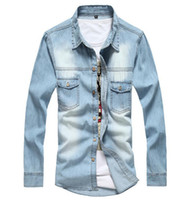 Wholesale Workwear Long Sleeve - New 2016 Men's Denim Long-Sleeve Shirt Male Plus Size Loose Shirts Denim Workwear Jeans Shirt For Autumn Slim Fit Long Sleeve Denim Shirt