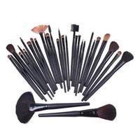 Wholesale Goat Big - Big Discount 32Pcs Professional Makeup Brush Sets Cosmetic Brushes Kit +Black Leather Case