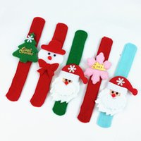 Wholesale red slap bracelets - Christmas gifts Slap Bracelets Wristband Children kids Santa Claus tree slap pat circle Bracelets Xmas decorations Circle Free express