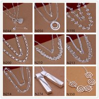 Wholesale Sterling Silver Spiral Chain - Burst models women's sterling silver Necklace GTP52,fashion trinkets spiral pearl 925 silver Necklace 6 pieces a lot mixed style