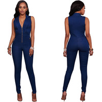 Wholesale Cheap Dress Jeans - Lady Dress Jumpsuits Siamese trousers Blue Skinny Jeans Sleeveless Woman Dress Autumn Hot Dress Slim Rompers Outfit Fashion Cheap Price