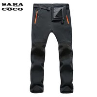 Wholesale Nylon Pants Hiking - Wholesale-Water-Proof Breathable Hiking Pants Quick Drying Fishing Camping Pants for Men Outer Soft Shell Fleece Hiking Trousers Male