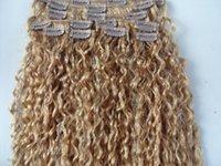 renk 27 kıvırcık toptan satış-Toptan-brezilyalı saç uzantıları sufaya saç ürünleri içinde kıvırcık saç atkı klip 9 adet / takım sarışın renk 27 # 6A saç