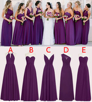 Wholesale Perfect Pink Dress - Perfect Chiffon Purple Bridesmaid Dresses Floor Length A Line Long Wedding Bridesmaid Dresses Custom Made Sleeveless WB011