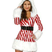 Wholesale Red White Candy Canes - Christmas Costumes Women Fur Trim Red Sexy Candy Cane Costume Long Sleeve Christmas Costume Red And White Striped Performance Clothing